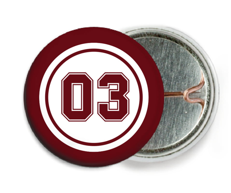 custom pin back buttons - white & maroon - basketball (set of 6)