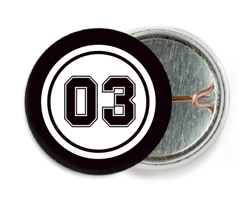 custom pin back buttons - white & black - basketball (set of 6)
