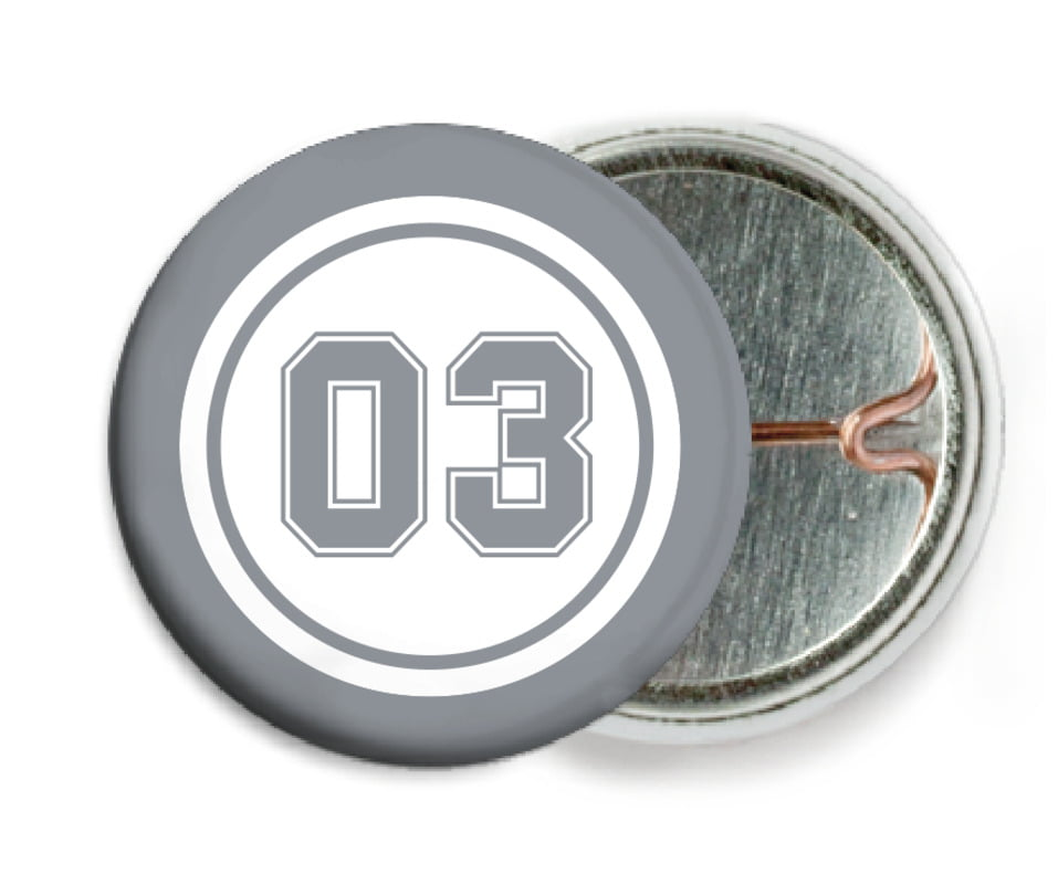 custom pin back buttons - white & silver - basketball (set of 6)