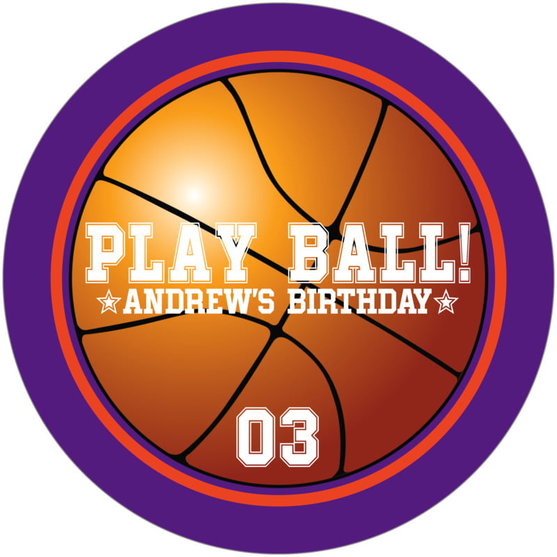 round beer coasters - orange & purple - basketball (set of 12)