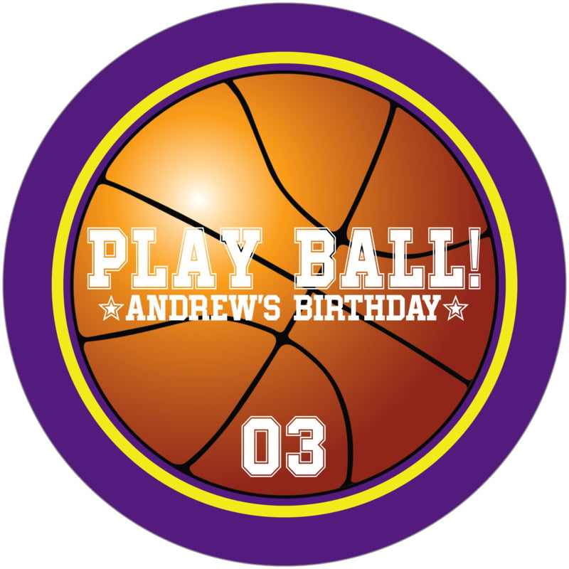 round beer coasters - yellow & purple - basketball (set of 12)