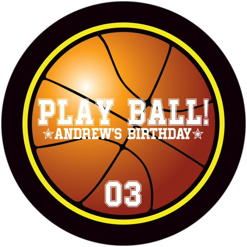 round beer coasters - yellow & black - basketball (set of 12)