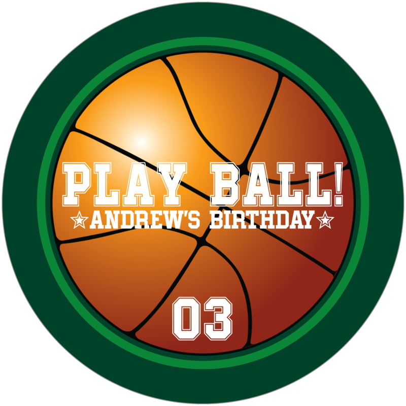 round beer coasters - green & forest - basketball (set of 12)