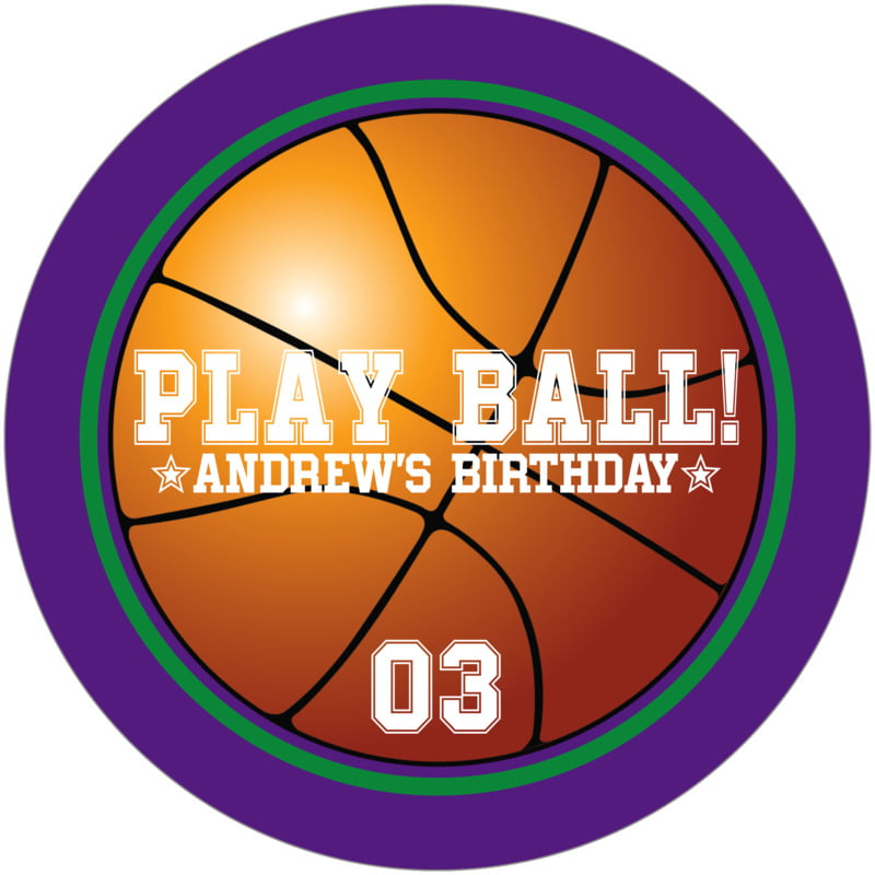round beer coasters - green & purple - basketball (set of 12)