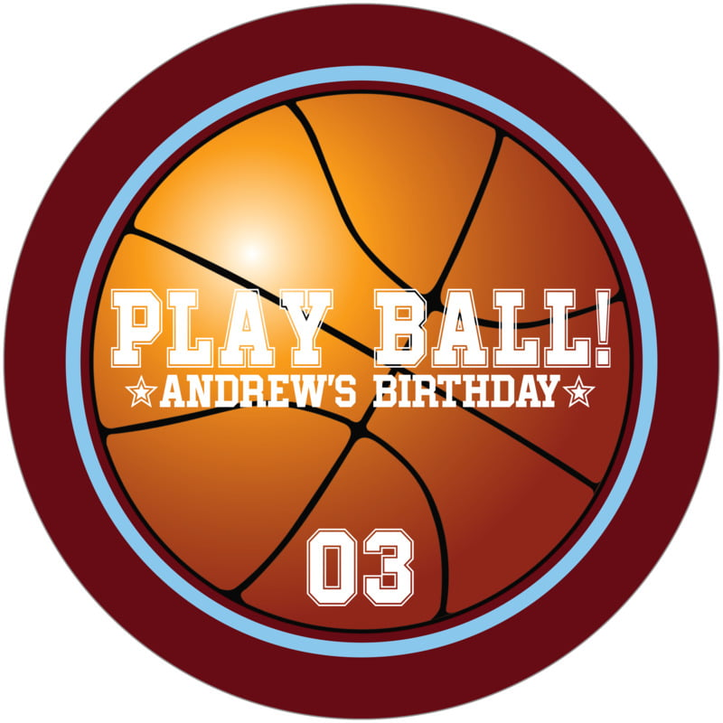 round beer coasters - light blue & maroon - basketball (set of 12)