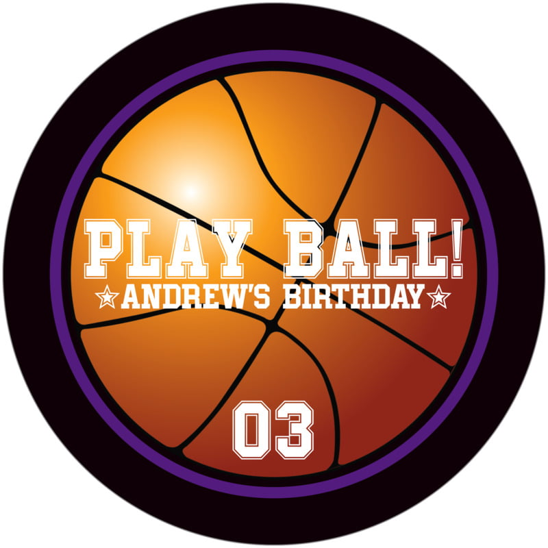 round beer coasters - purple & black - basketball (set of 12)