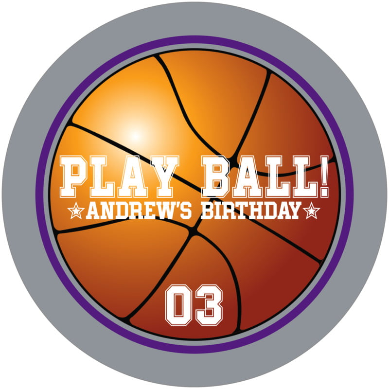 round beer coasters - purple & silver - basketball (set of 12)