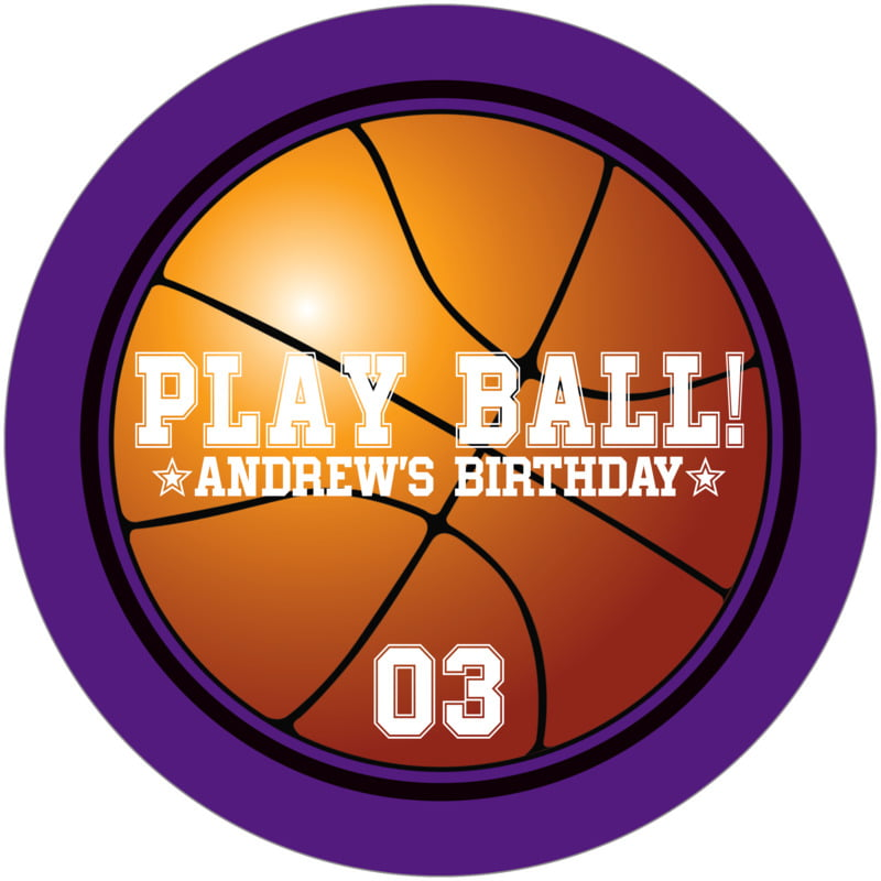 round beer coasters - black & purple - basketball (set of 12)