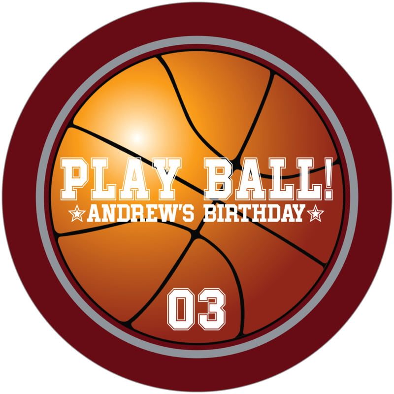 round beer coasters - silver & maroon - basketball (set of 12)