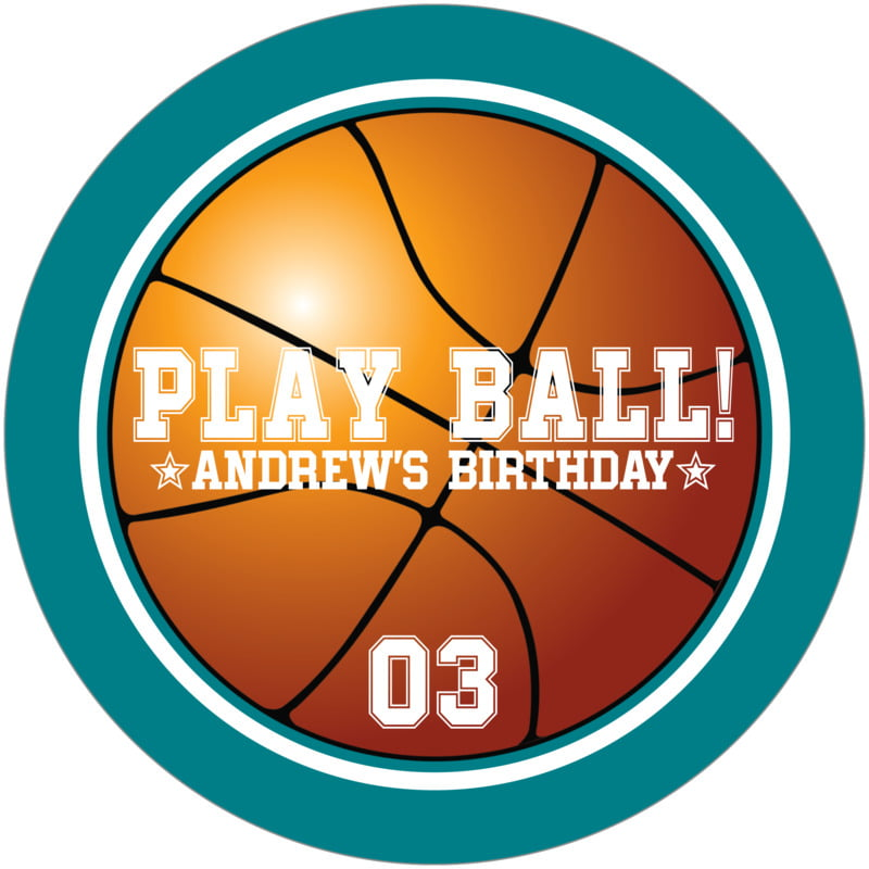 round beer coasters - white & teal - basketball (set of 12)