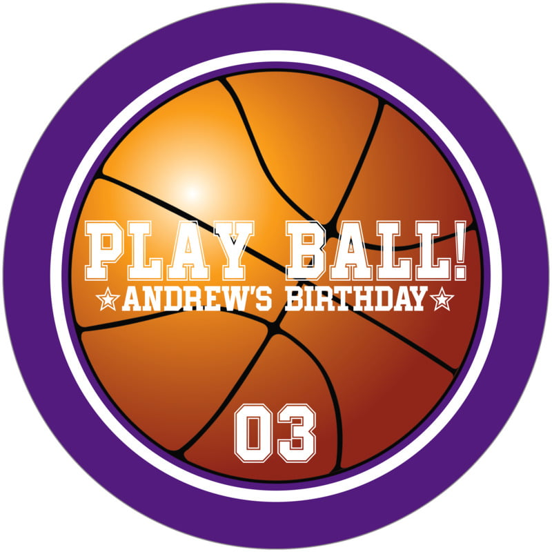 round beer coasters - white & purple - basketball (set of 12)