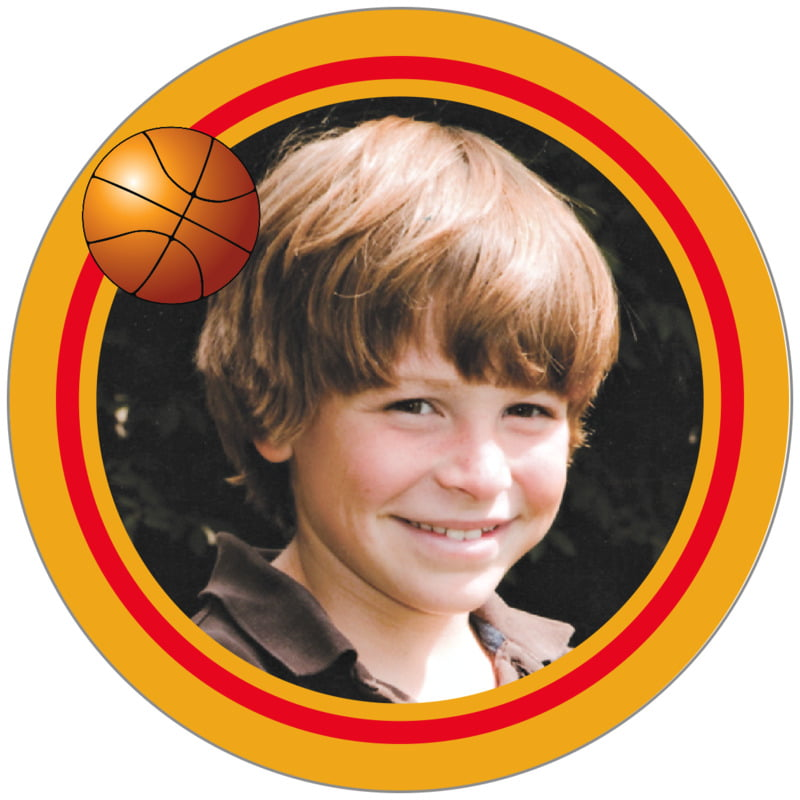 circle photo labels - red & gold - basketball (set of 20)