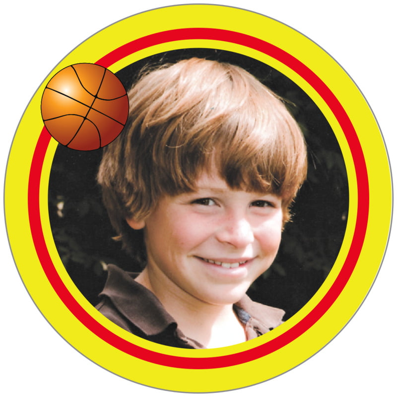 circle photo labels - red & yellow - basketball (set of 20)