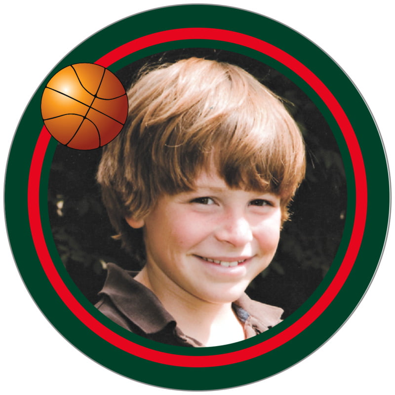 circle photo labels - red & forest - basketball (set of 20)