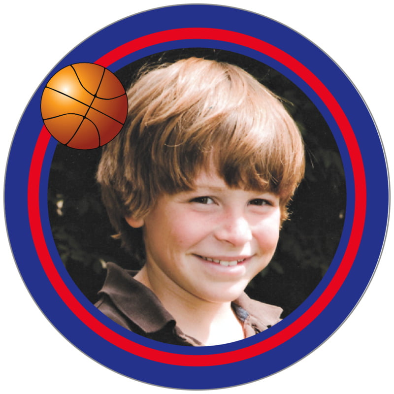 circle photo labels - red & royal - basketball (set of 20)