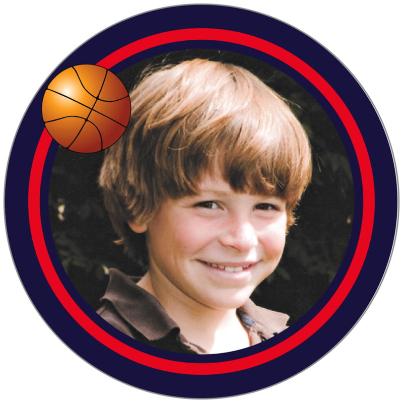 circle photo labels - red & navy - basketball (set of 20)