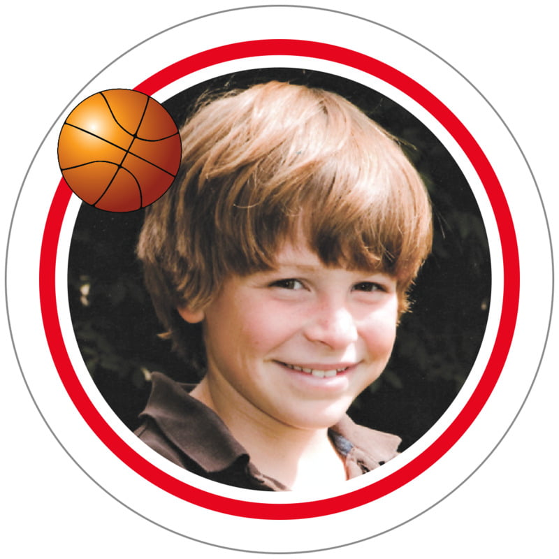 circle photo labels - red & white - basketball (set of 20)