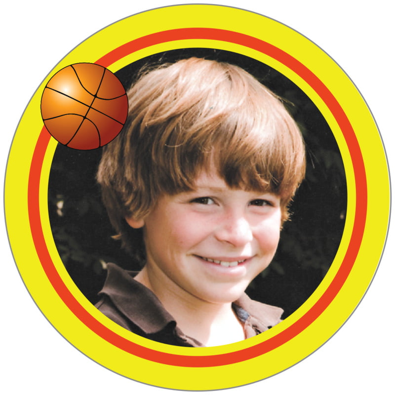 circle photo labels - orange & yellow - basketball (set of 20)