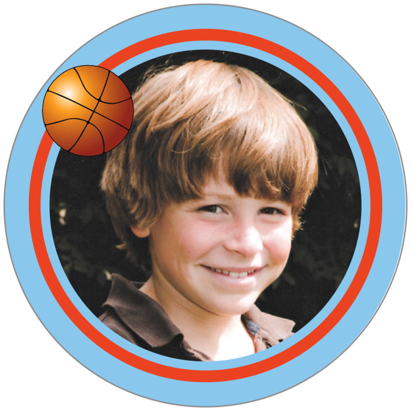 circle photo labels - orange & light blue - basketball (set of 20)