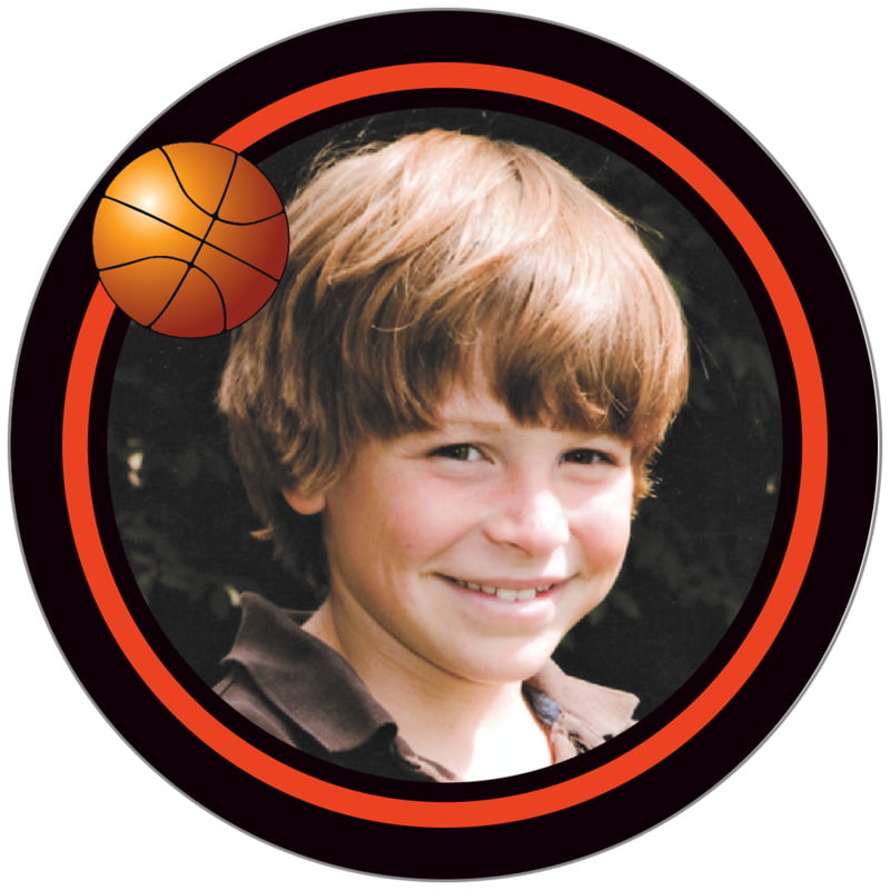 circle photo labels - orange & black - basketball (set of 20)