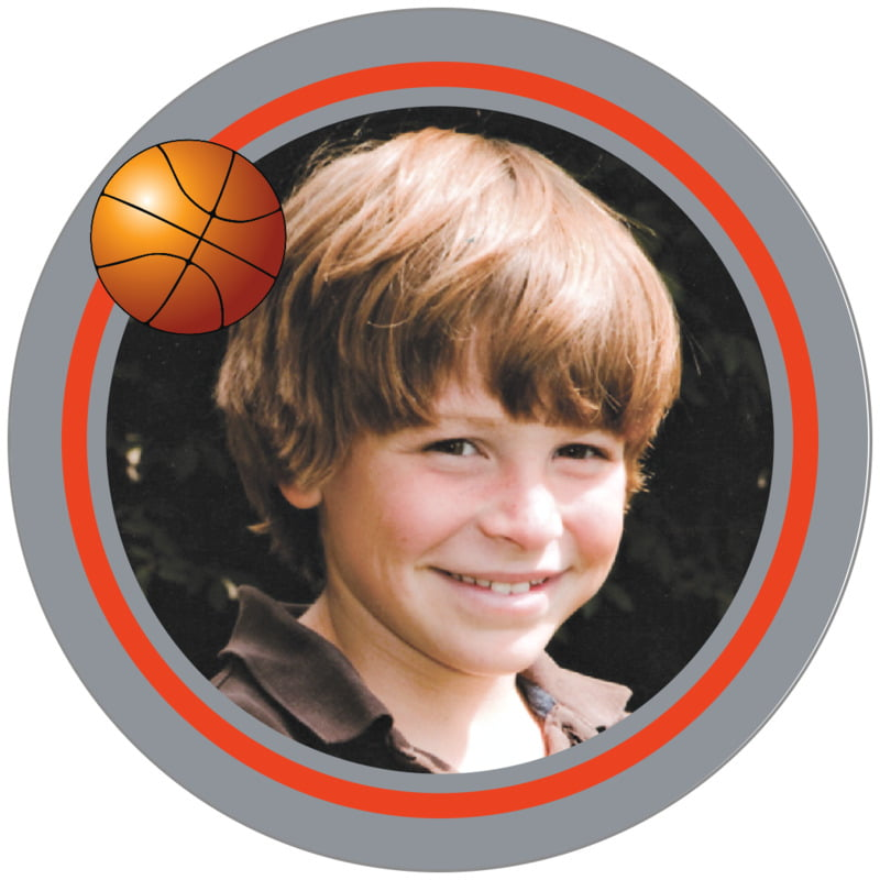 circle photo labels - orange & silver - basketball (set of 20)