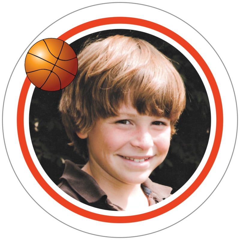 circle photo labels - orange & white - basketball (set of 20)