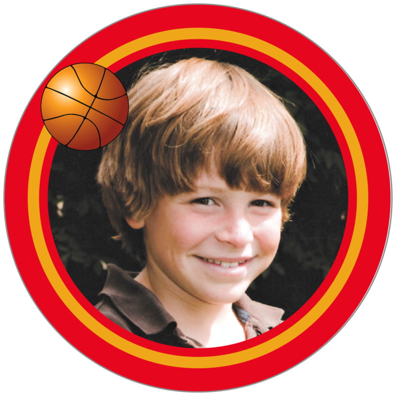 circle photo labels - gold & red - basketball (set of 20)