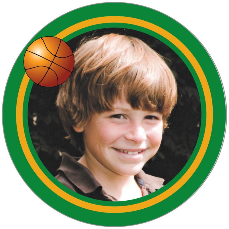 circle photo labels - gold & green - basketball (set of 20)