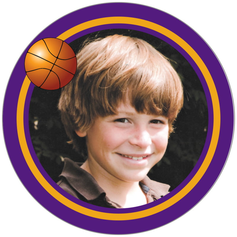 circle photo labels - gold & purple - basketball (set of 20)