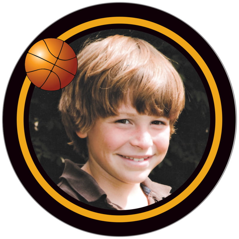 circle photo labels - gold & black - basketball (set of 20)