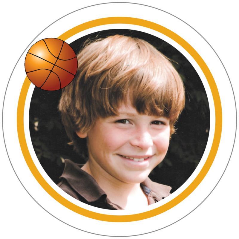 circle photo labels - gold & white - basketball (set of 20)