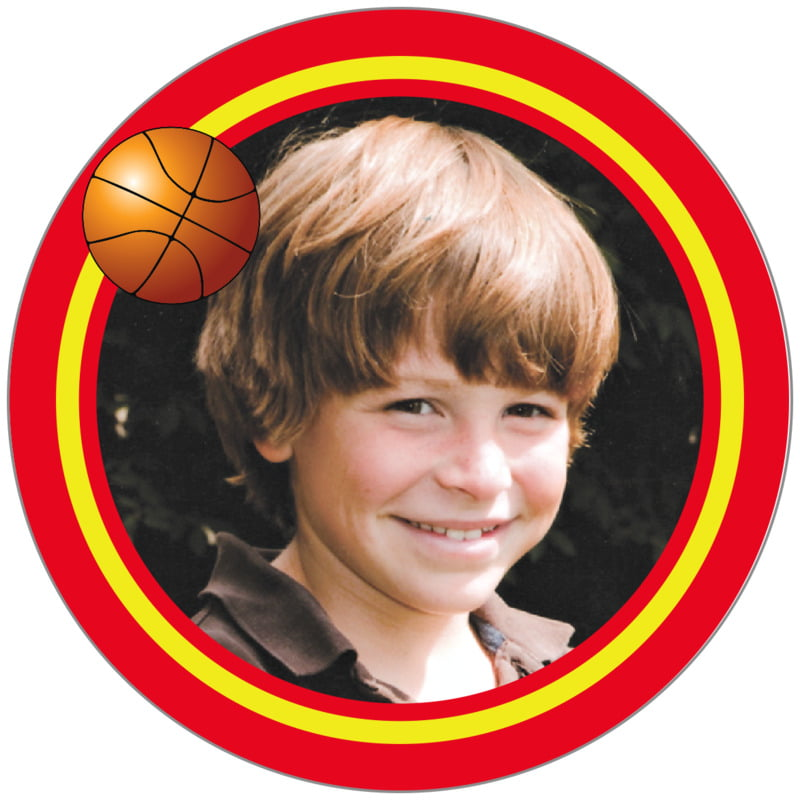 circle photo labels - yellow & red - basketball (set of 20)
