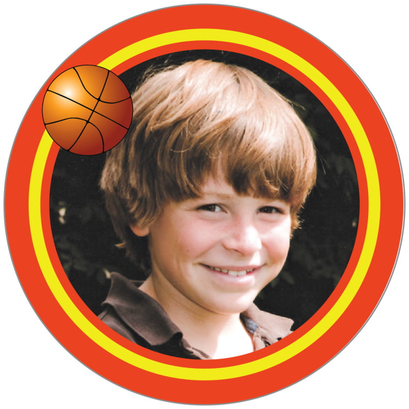 circle photo labels - yellow & orange - basketball (set of 20)