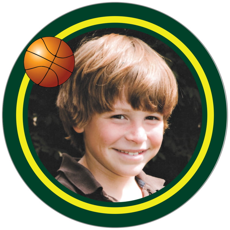 circle photo labels - yellow & forest - basketball (set of 20)