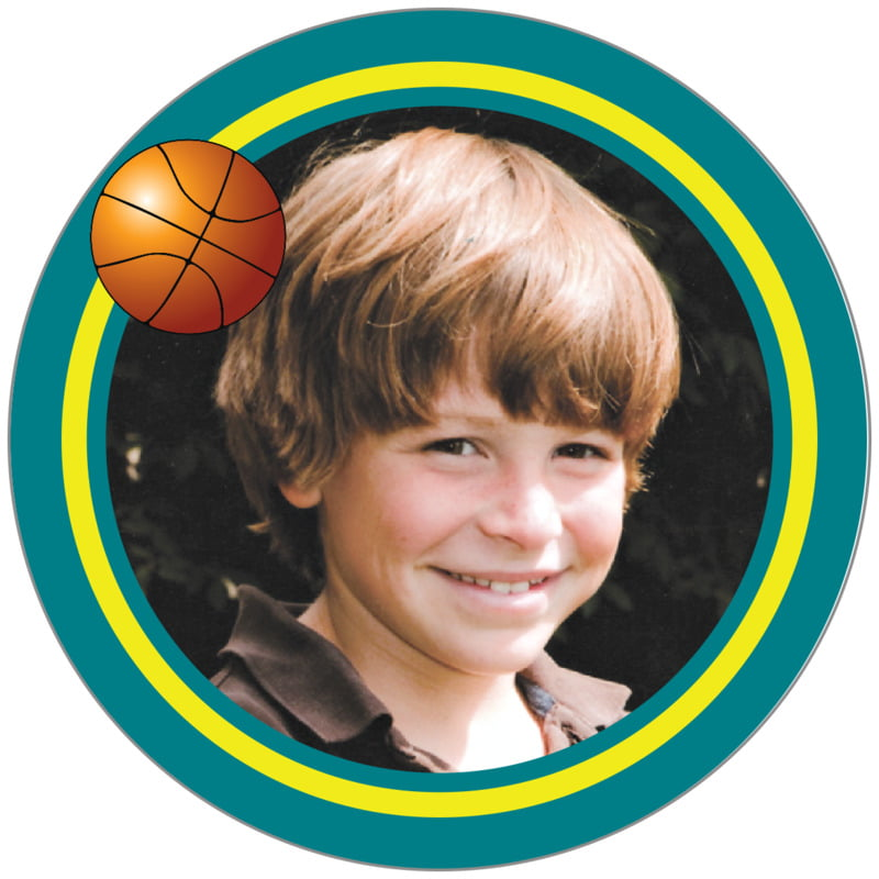 circle photo labels - yellow & teal - basketball (set of 20)
