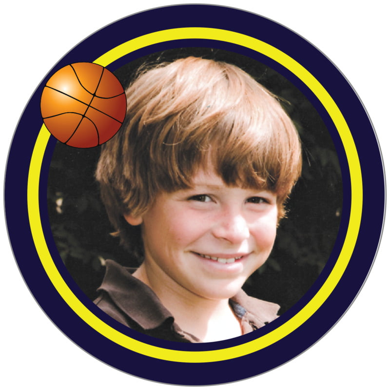 circle photo labels - yellow & navy - basketball (set of 20)
