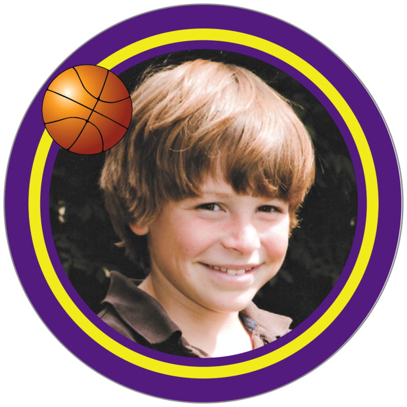 circle photo labels - yellow & purple - basketball (set of 20)
