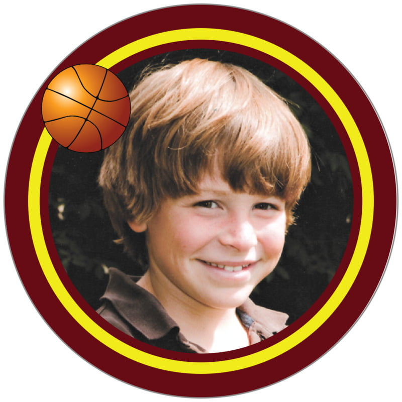 circle photo labels - yellow & maroon - basketball (set of 20)