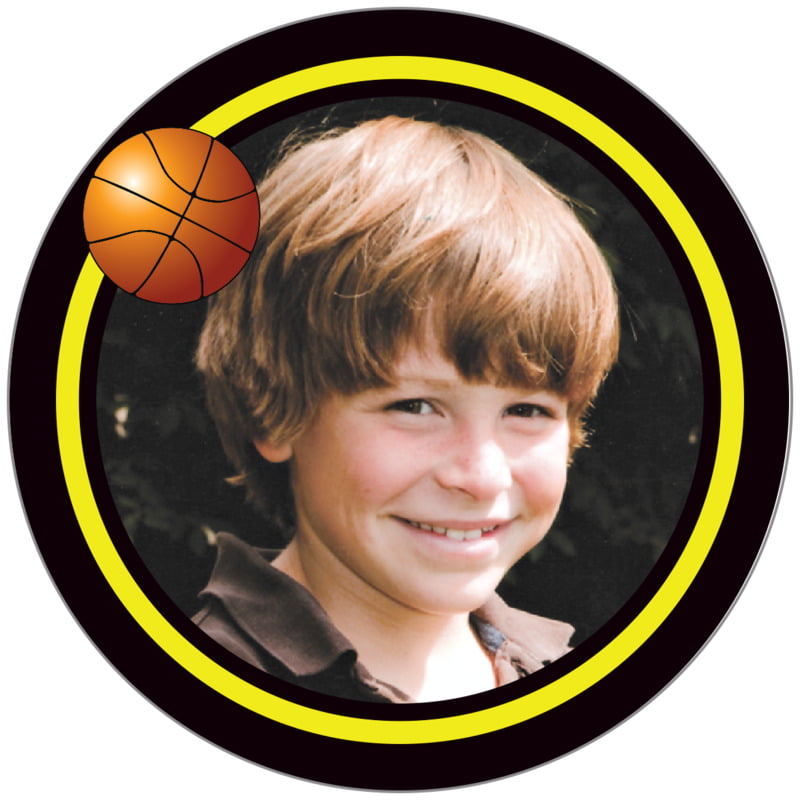 circle photo labels - yellow & black - basketball (set of 20)
