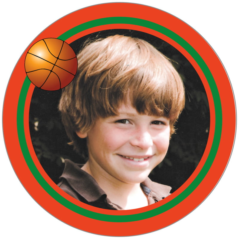 circle photo labels - green & orange - basketball (set of 20)