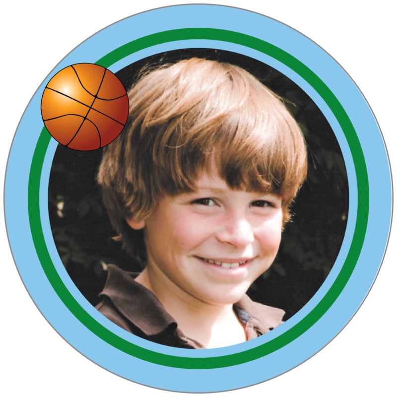 circle photo labels - green & light blue - basketball (set of 20)