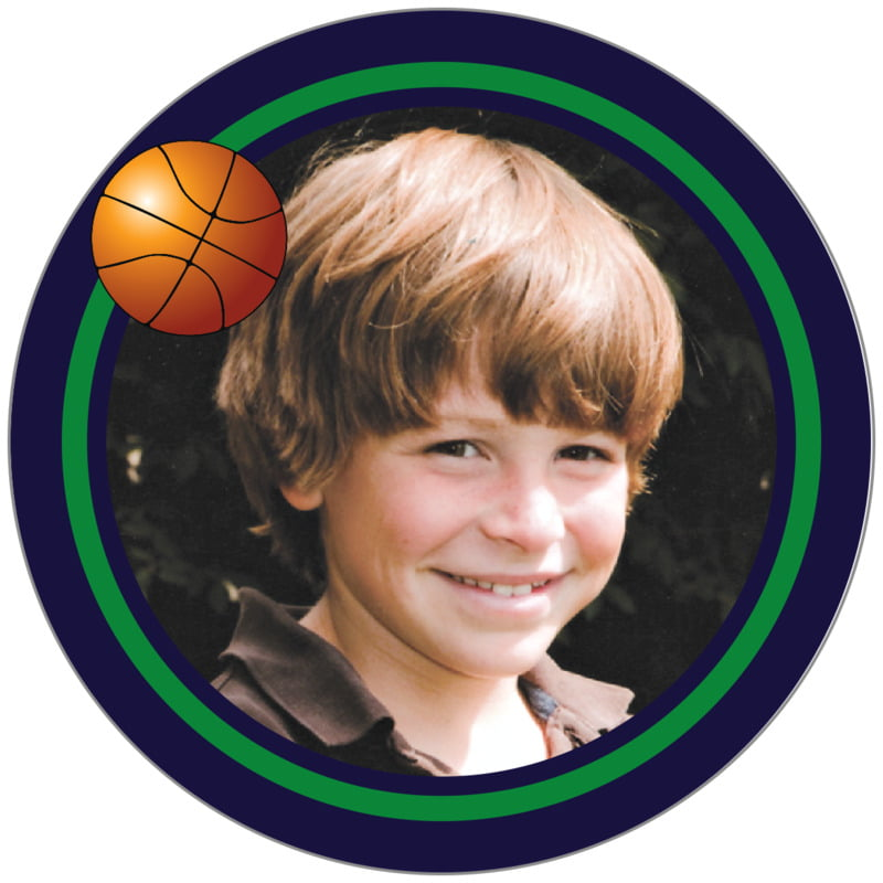 circle photo labels - green & navy - basketball (set of 20)