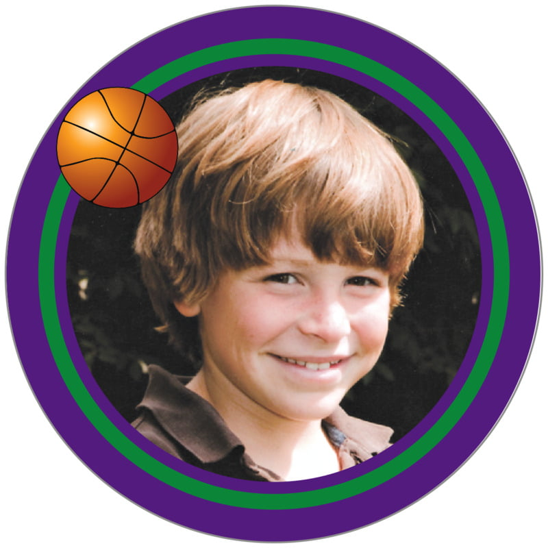 circle photo labels - green & purple - basketball (set of 20)