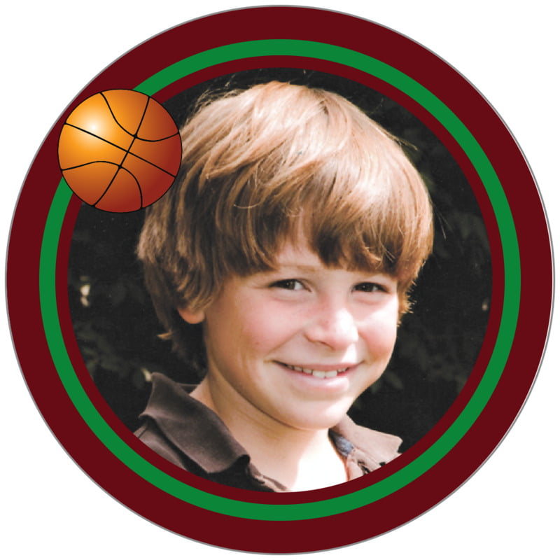 circle photo labels - green & maroon - basketball (set of 20)