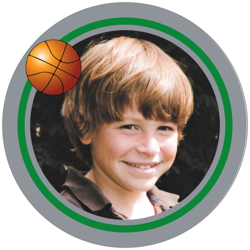 circle photo labels - green & silver - basketball (set of 20)