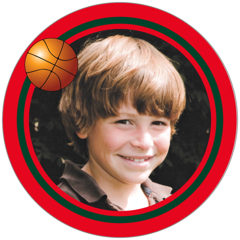 circle photo labels - forest & red - basketball (set of 20)