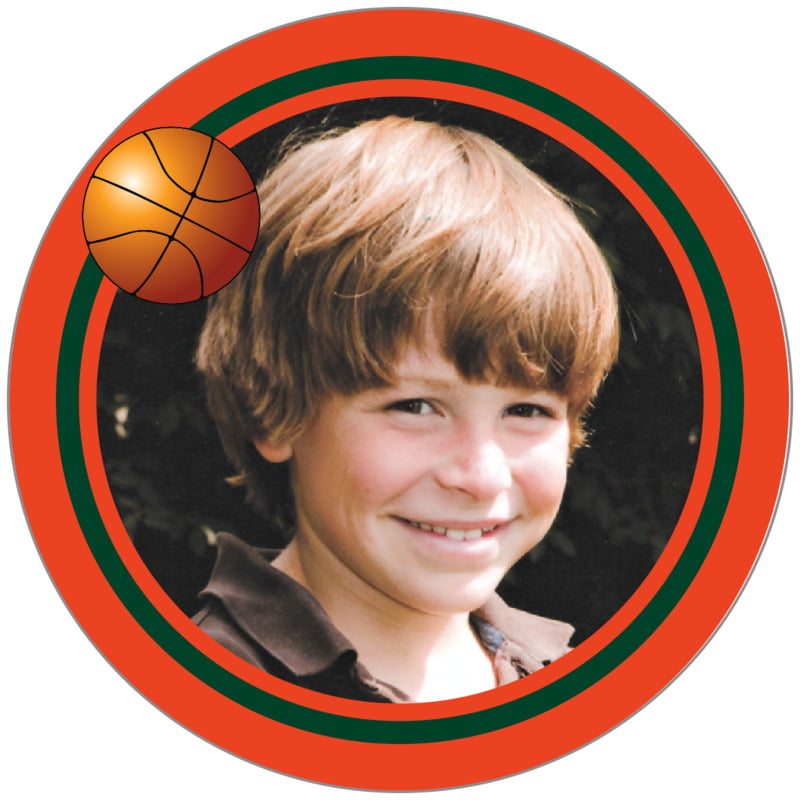 circle photo labels - forest & orange - basketball (set of 20)