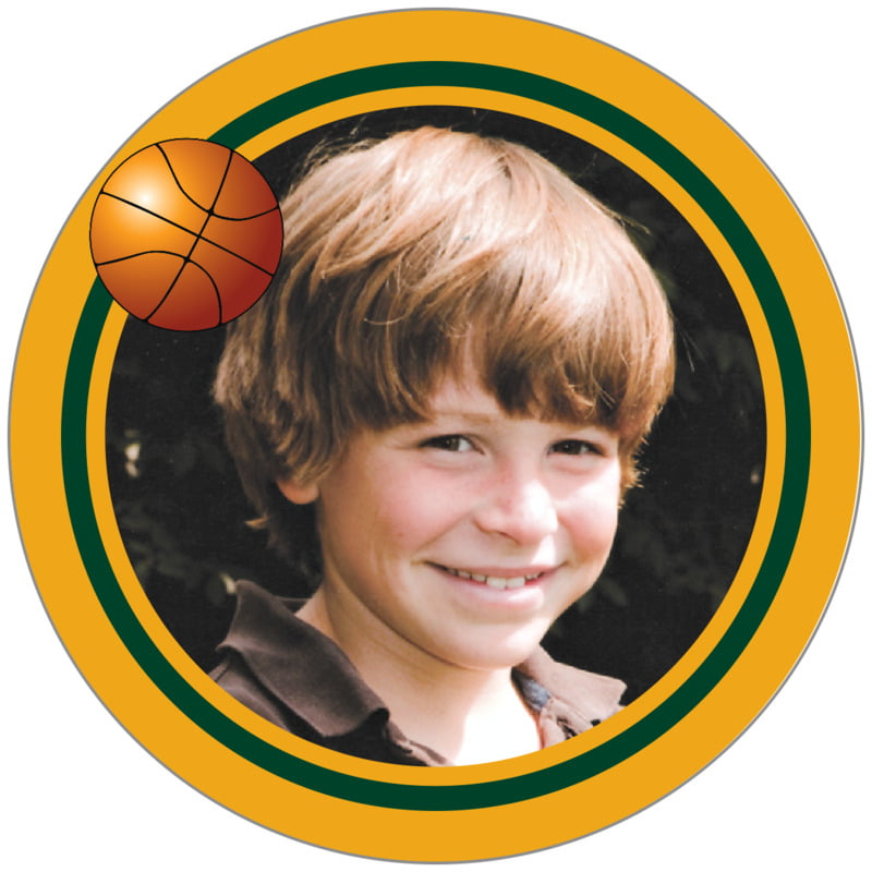 circle photo labels - forest & gold - basketball (set of 20)