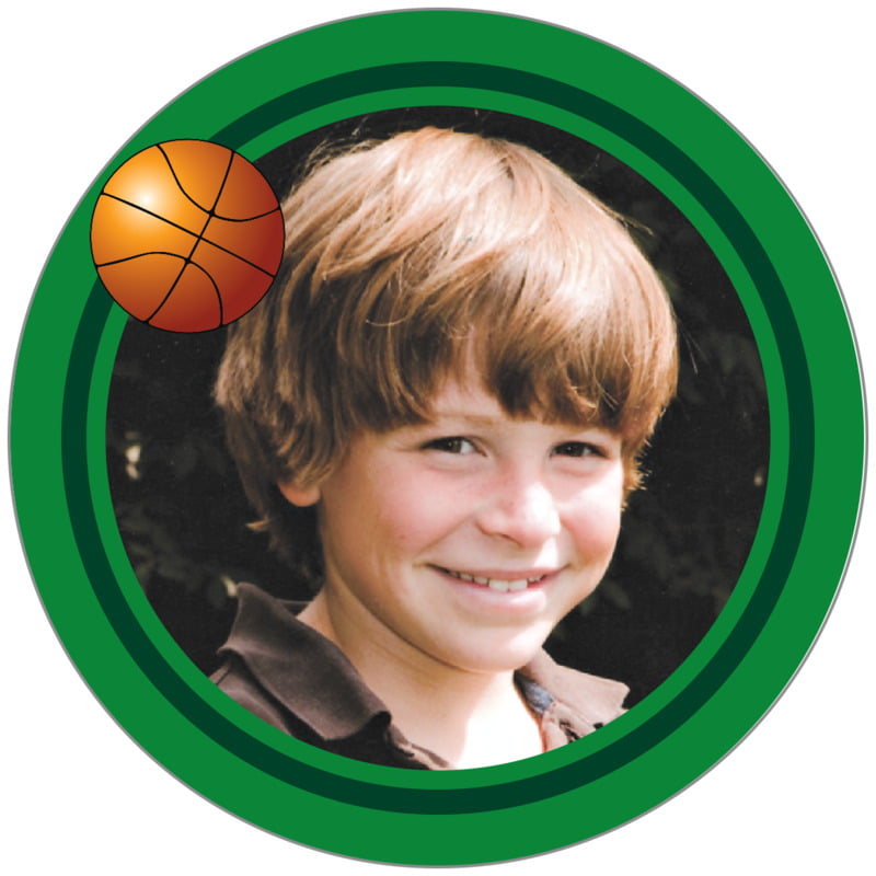 circle photo labels - forest & green - basketball (set of 20)