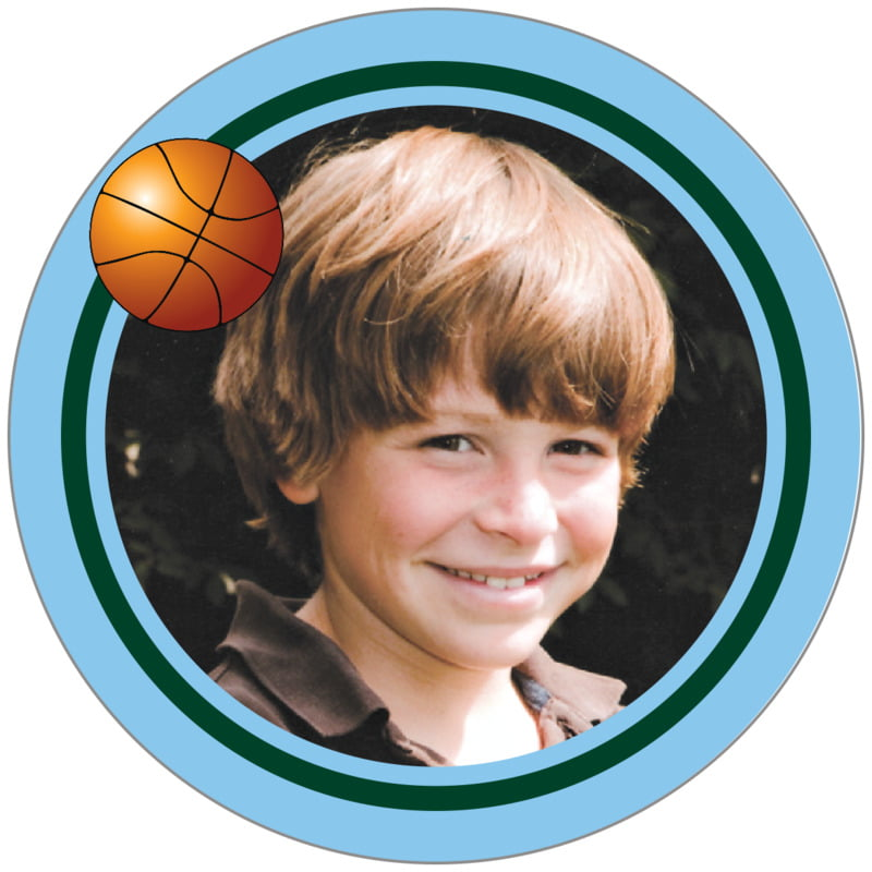 circle photo labels - forest & light blue - basketball (set of 20)